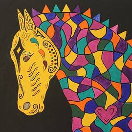Susie WEBER - Carnival Stained Glass Tribal Horse