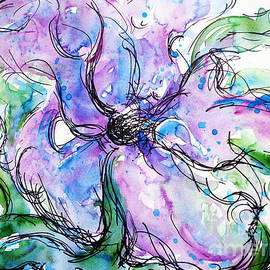 CheyAnne Sexton - Cerulean Blue and Passion Purple Flower watercolor