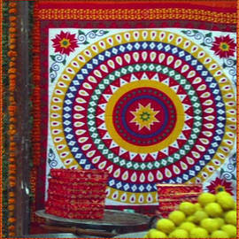 Navin Joshi - CHAKRA Large Format Fabric Embroidery used for Wall Decorations and during Wedding Engagement Temple