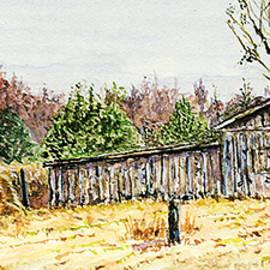 Barry Jones - Chapel Hill Barn-Miniature Fine Art Watercolor Painting