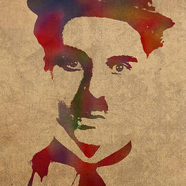Charlie Chaplin Watercolor Portrait Silent Movie Vintage Actor on Worn Distressed Canvas - Design Turnpike