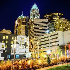 Charlotte NC Downtown City at Night Photo - Paul Velgos