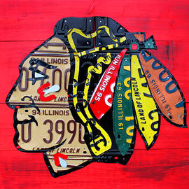 Chicago Blackhawks Hockey Team Vintage Logo Made from old recycled Illinois License Plates Red - Design Turnpike