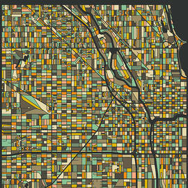 CHICAGO CITY MAP - Jazzberry Blue