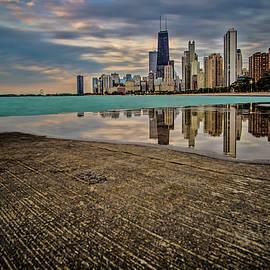 Sven Brogren - Chicago Lakefront scene with watery reflection
