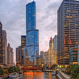 Silvio Ligutti - Chicago Riverwalk Equitable Wrigley Building and Trump International Tower and Hotel at Sunset