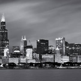 Chicago Skyline At Night Black And White  - Adam Romanowicz