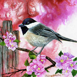 Sherry Shipley - Chickadee with Apple blossoms