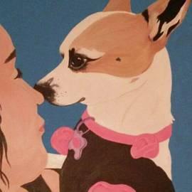 Cindi Roberts - Chihuahua and child modern painting