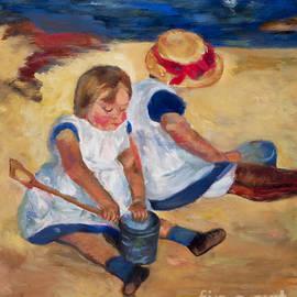 Marilyn Nolan-Johnson - Children Playing On The Beach after Mary Cassatt by Marilyn Nolan-Johnson