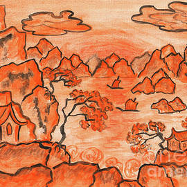 Irina Afonskaya - Chinese landscape in orange, painting