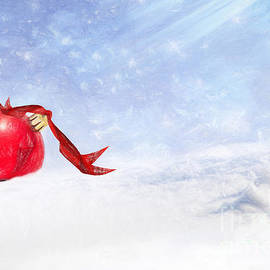 Ezeepics  - Christmas Background With Red Bauble In The Snow
