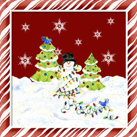 Christmas Snowman w Lights n Trees Snowflakes Candy Cane Stripes Whimsical - Audrey Jeanne Roberts