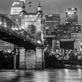 Gregory Ballos - Cincinnati Ohio Skyline and Bridge - Black and White