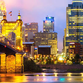 Gregory Ballos - Cincinnati Skyline and the John Roebling Suspension Bridge