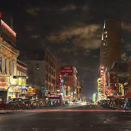 Mike Savad - City - Dallas TX - Elm street at night 1941