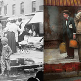 Mike Savad - City - NY - Drinking water from a street pump 1910 - Side by Side
