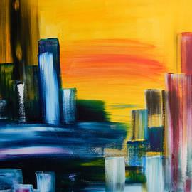 Eliza Donovan - City Sunrise Contemporary Abstract Cityscape