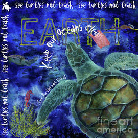 Nola Lee Kelsey - Clean Oceans Sea Turtle Art