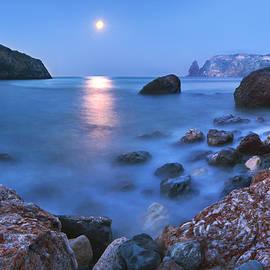Stanislav Salamanov - Coast rock with cross on moonrise