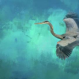 Jai Johnson - Coasting Blue Heron Bird Art