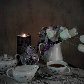 Sherry Hallemeier - Coffee and Lace Table Cloth by Candle Light