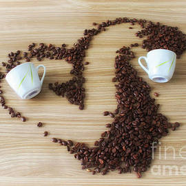 Coffee beans with cups - SK Pfphotography