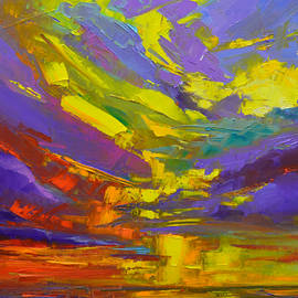 Patricia Awapara - Coloful Sunset, oil painting, Modern Impressionist Art