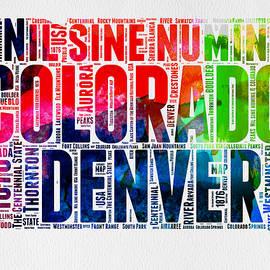 Colorado Watercolor Word Cloud Map  - Naxart Studio