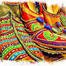 Sue Jacobi - Colorful Abstract Shoes For Sale Juttis India Rajasthan Jaipur 3b