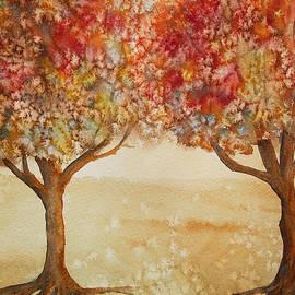 Kerri Ligatich - Colorful Autumn Twin Trees