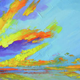 Patricia Awapara - Colorful Beach Sunset Oil Painting