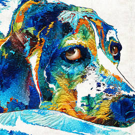 Sharon Cummings - Colorful Beagle Dog Art by Sharon Cummings