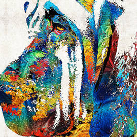 Sharon Cummings - Colorful Bloodhound Dog Art By Sharon Cummings