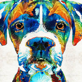 Sharon Cummings - Colorful Boxer Dog Art By Sharon Cummings
