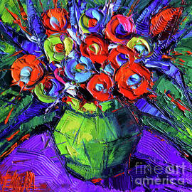 Mona Edulesco - Colorful Flowers on round purple table