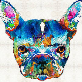 Sharon Cummings - Colorful French Bulldog Dog Art By Sharon Cummings