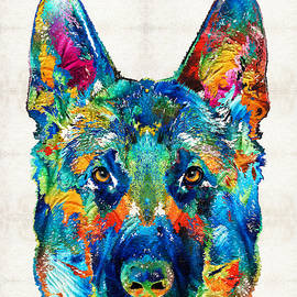 Sharon Cummings - Colorful German Shepherd Dog Art By Sharon Cummings