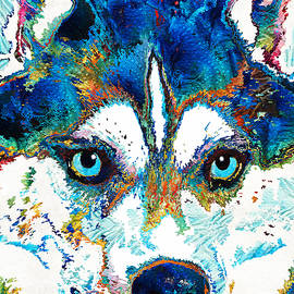 Sharon Cummings - Colorful Husky Dog Art by Sharon Cummings