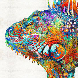 Sharon Cummings - Colorful Iguana Art - One Cool Dude - Sharon Cummings