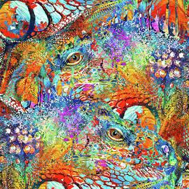 Colorful Iguana Art - Tropical Two - Sharon Cummings - Sharon Cummings