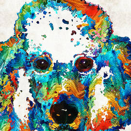 Sharon Cummings - Colorful Poodle Dog Art by Sharon Cummings