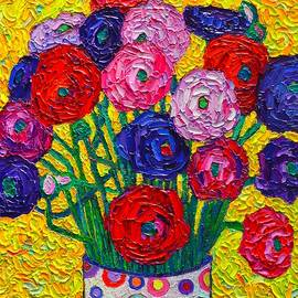 Ana Maria Edulescu - Colorful Ranunculus Flowers In Polka Dots Vase Palette Knife Oil Painting By Ana Maria Edulescu
