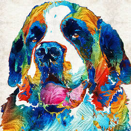 Sharon Cummings - Colorful Saint Bernard Dog by Sharon Cummings