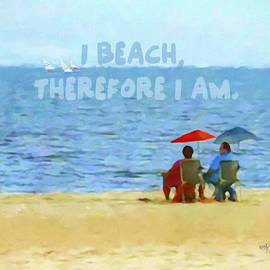 Rebecca Korpita - Colorful Seascape Beach Umbrellas Inspirational Quote