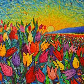 Ana Maria Edulescu - Colorful Tulips Field Sunrise - Abstract Impressionist Palette Knife Painting By Ana Maria Edulescu