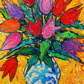 Ana Maria Edulescu - Colorful Tulips Modern Impressionist Palette Knife Oil Painting Floral Art By Ana Maria Edulescu