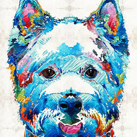 Sharon Cummings - Colorful West Highland Terrier Dog Art Sharon Cummings