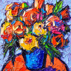 Ana Maria Edulescu - Colorful Wild Roses Abstract Flowers Modern Impressionist Impasto Oil Painting By Ana Maria Edulescu