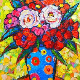 Ana Maria Edulescu - Colorful Wild Roses Bouquet - Original Impressionist Oil Painting